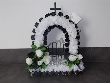 Black and white artificial flower gates of heaven