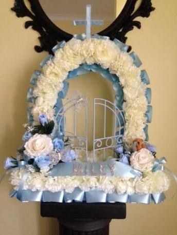 Blue artificial flower gates of heaven