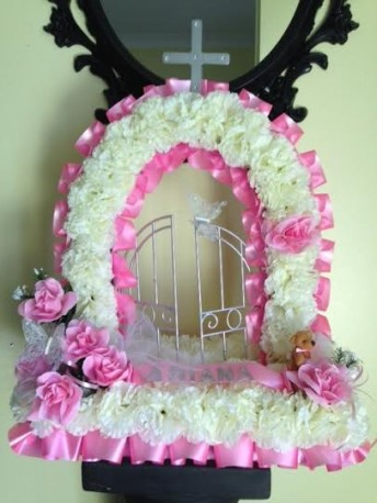 Pink artificial flower gates of heaven