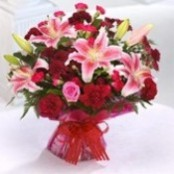PINK LILY AND ROSE HANDTIED BOUQUET